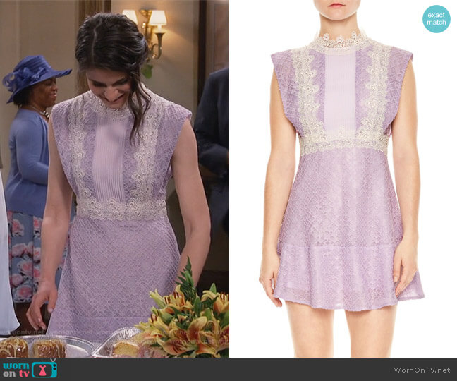 Peaches Lace Mindress by Sandro worn by Leslie Curry (Lindsey Kraft) on Living Biblically