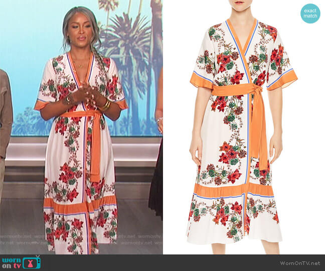 Printed Silk Midi Wrap Dress by Sandro worn by Eve  on The Talk