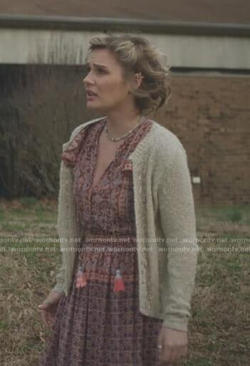 Scarlett's pink printed dress with tassels on Nashville