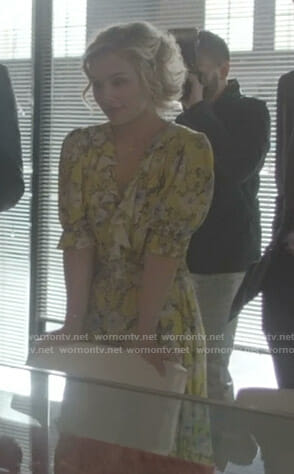 Scarlett's yellow floral ruffled dress on Nashville