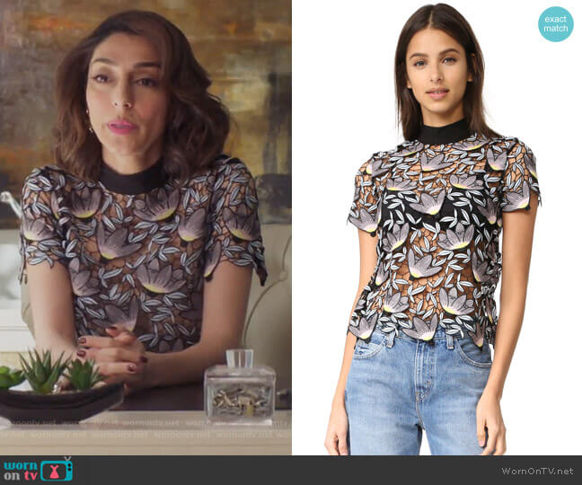 Peony Short Sleeve Top by Self Portrait worn by Delia (Necar Zadegan) on GG2D