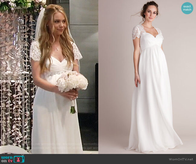 Seraphine Ivory Silk & Lace Maternity Wedding Gown worn by Nelle Benson (Chloe Lanier) on General Hospital