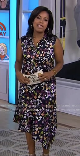 Sheinelle's black floral asymmetric dress on Today