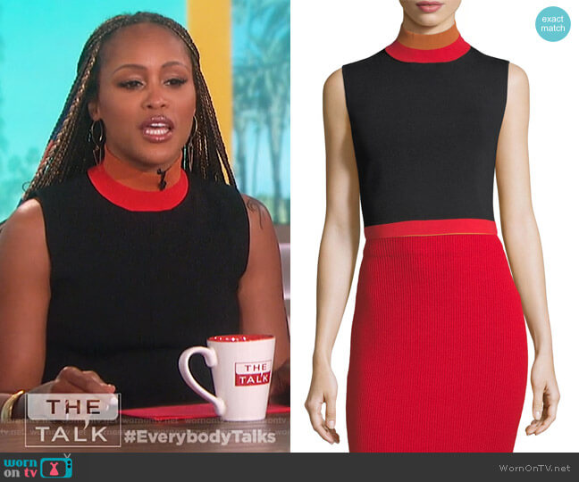Sleeveless Cropped Turtleneck Rib-Knit Top by Solace London worn by Eve  on The Talk
