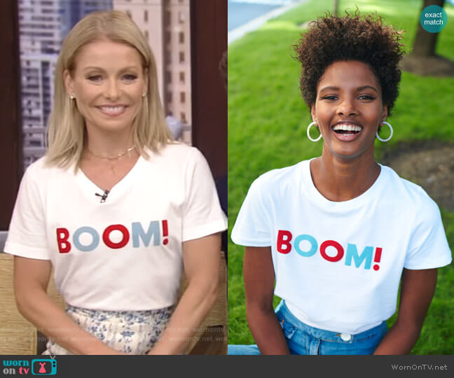 The Boom Tee by Sold Out worn by Kelly Ripa on Live with Kelly & Ryan