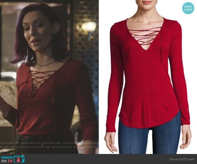 Long Sleeve Lace-Up Top by Splendid worn by Alannah (Rainee Blake) on Nashville