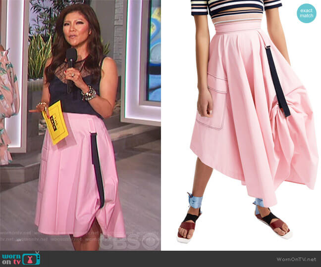 Transforming Satin Maxi Skirt by Sportmax worn by Julie Chen  on The Talk