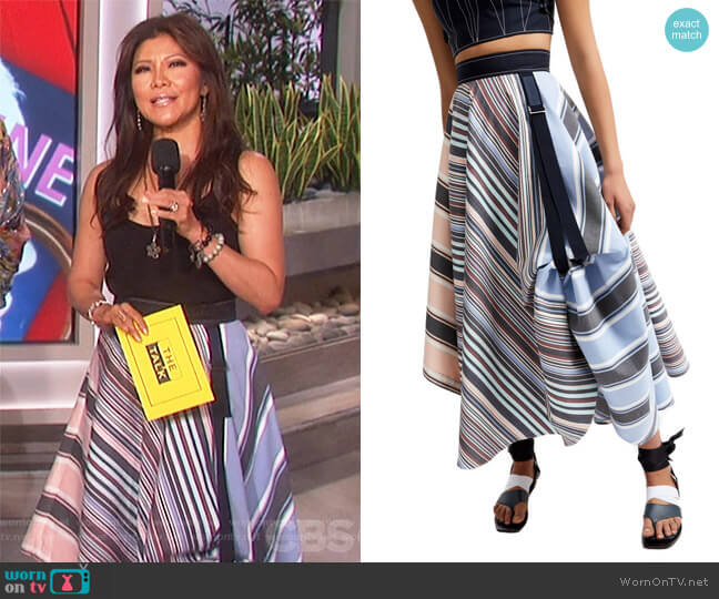 Transforming Striped Satin Maxi Skirt by Sportmax worn by Julie Chen  on The Talk