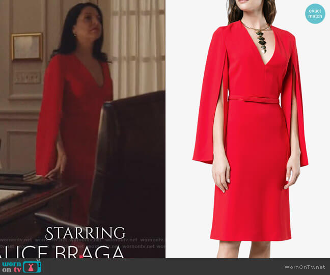V neck split sleeve midi dress by Stella McCartney worn by Camila Vargas (Veronica Falcón) on Queen of the South