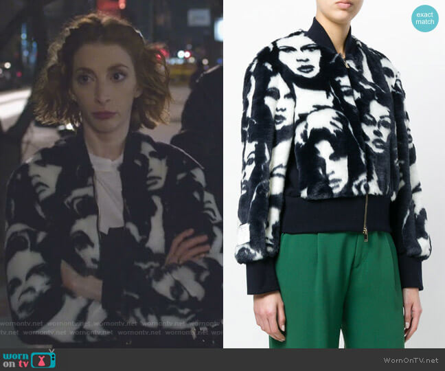 Cropped Face Print Jacket by Stella McCartney worn by Lauren (Molly Bernard) on Younger