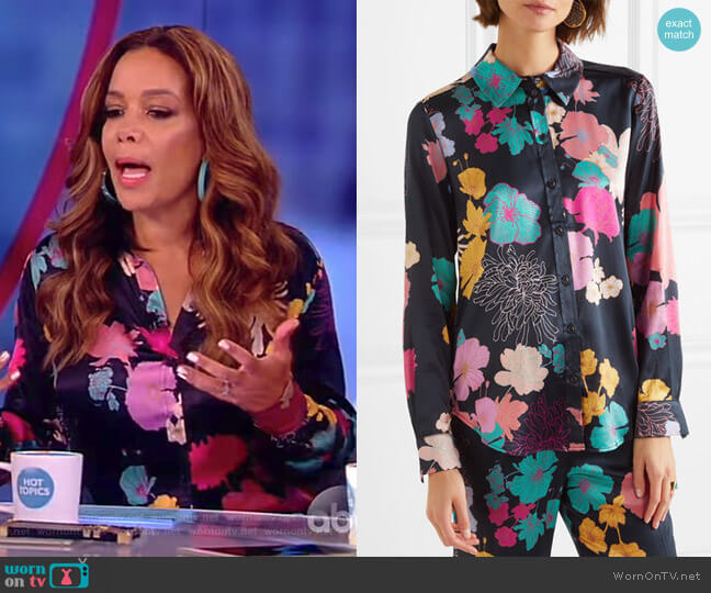 Maxwell floral-print silk-blend satin shirt by Stine Goya worn by Sunny Hostin (Sunny Hostin) on The View