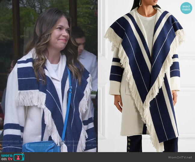 Striped Blanket Coat by Chloe worn by Sutton Foster on Younger