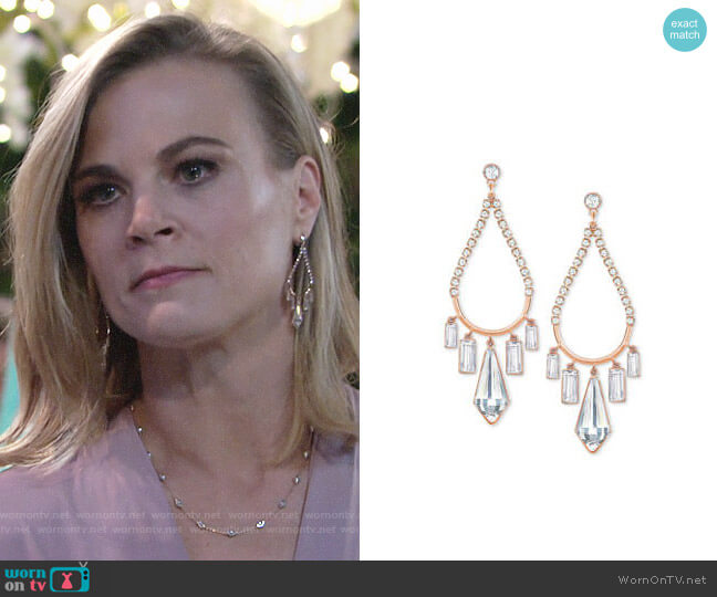 Swarovski Rose Gold-Tone Crystal Chandelier Earrings  worn by Phyllis Newman (Gina Tognoni) on The Young & the Restless