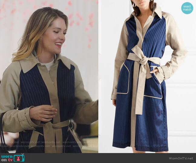 Cotton-gabardine and striped satin-twill trench coat by T by Alexander Wang worn by Meghann Fahy on The Bold Type