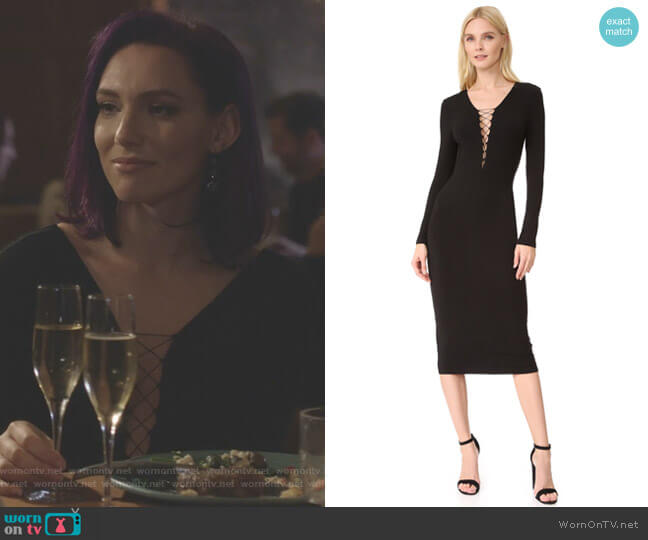 Lace Up Long Sleeve Dress by T by Alexander Wang worn by Rainee Blake on Nashville