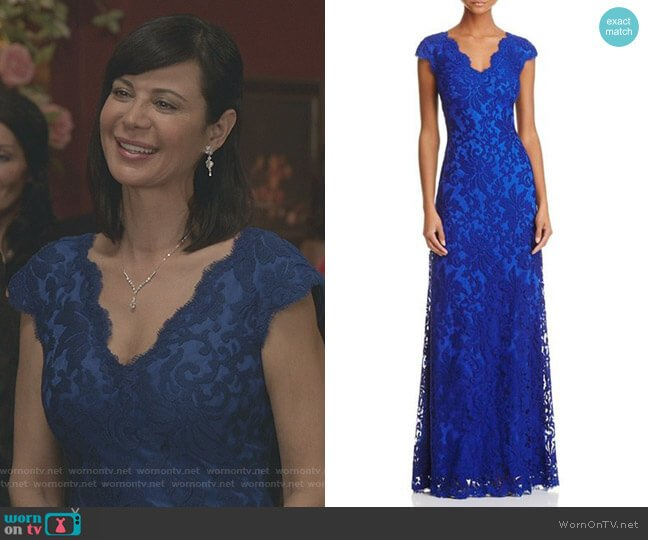 Illusion Lace Gown in Blue by Tadashi Shoji worn by Catherine Bell on Good Witch