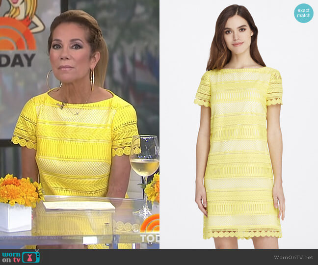 Short-Sleeve Lace Shift Dress by Tahari ASL worn by Kathie Lee Gifford  on Today