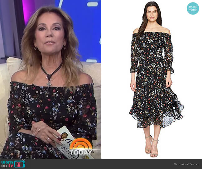 Floral Off the Shoulder Midi Shift Dress by Tahari ASL worn by Kathie Lee Gifford  on Today