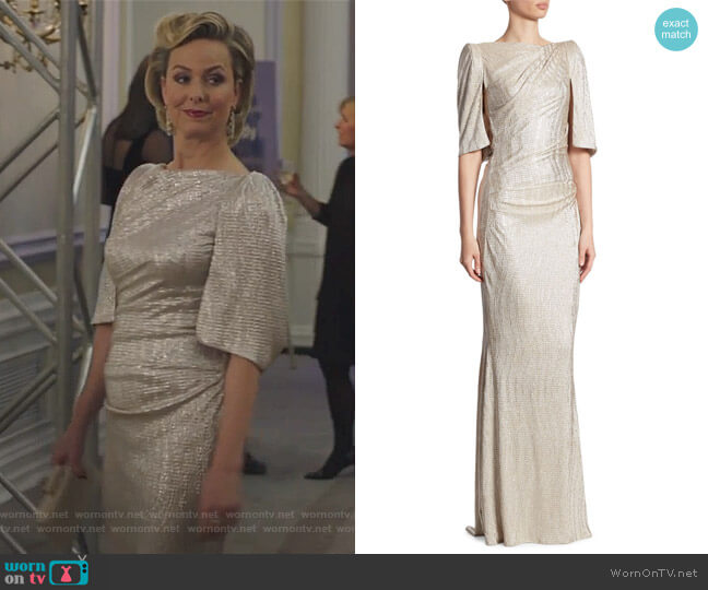Metallic Stretch Cloque Gown by Talbot Runhof worn by Jacqueline (Melora Hardin) on The Bold Type