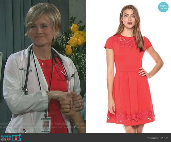 Cheskka Lace and Mesh Skater Dress by Ted Baker worn by Mary Beth Evans on Days of our Lives