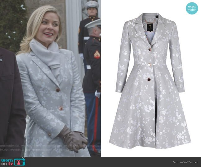 Fraully Oriental Jacquard Coat by Ted Baker worn by Kylee Evans on Good Witch