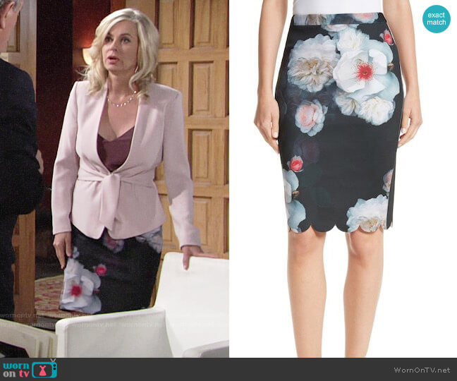 Ted Baker Laylie Chelsea Print Pencil Skirt worn by Ashley Abbott (Eileen Davidson) on The Young & the Restless