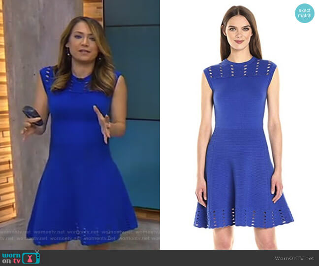 Zaralie Jacquard Panel Skater Dress by Ted Baker worn by Ginger Zee (Ginger  Zee) b4af12332