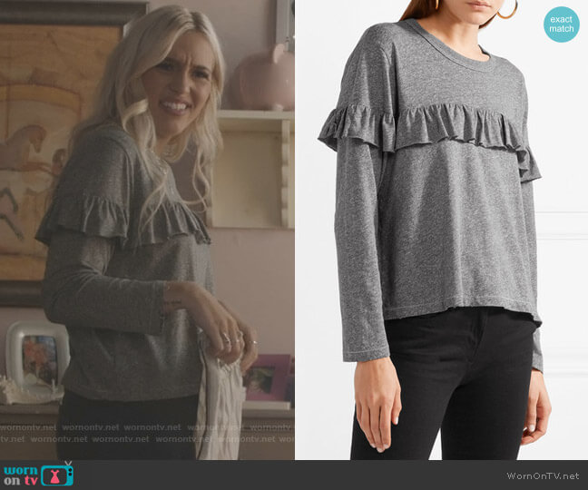 The Ruffle Stretch-Jersey Top by The Great worn by Maddie Jaymes (Lennon Stella) on Nashville