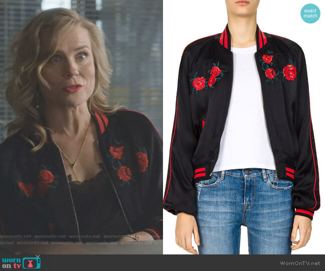 Embroidered Bomber Jacket by The Kooples worn by Ilse de Witt (Ilse DeLange) on Nashville