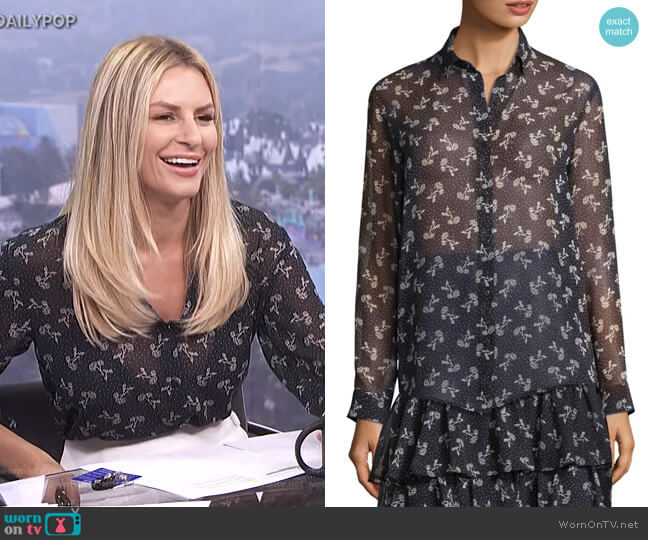 Floral Chiffon Shirt by The Kooples worn by Morgan Stewart  on E! News