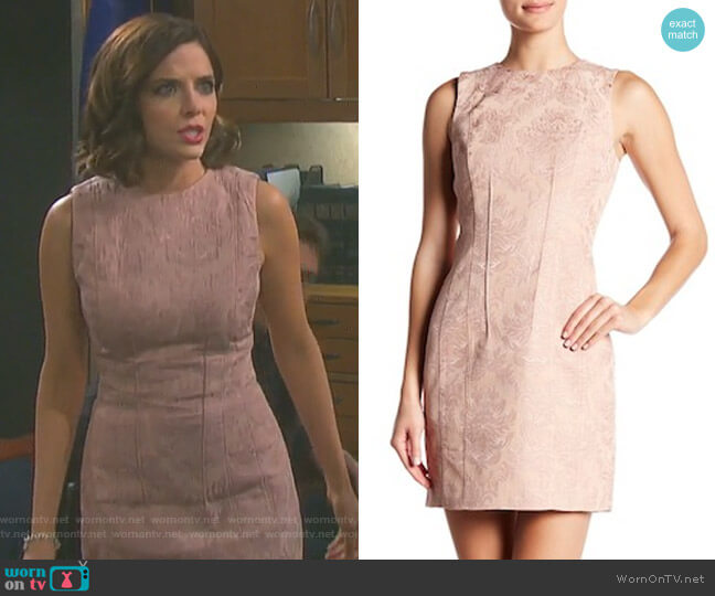 Hourglass Jacquard Shift Dress by Theory worn by Jen Lilley on Days of our Lives