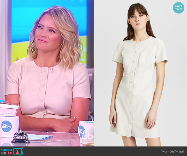 Leather Easy Snap Shift Dress by Theory worn by Sara Haines on The View
