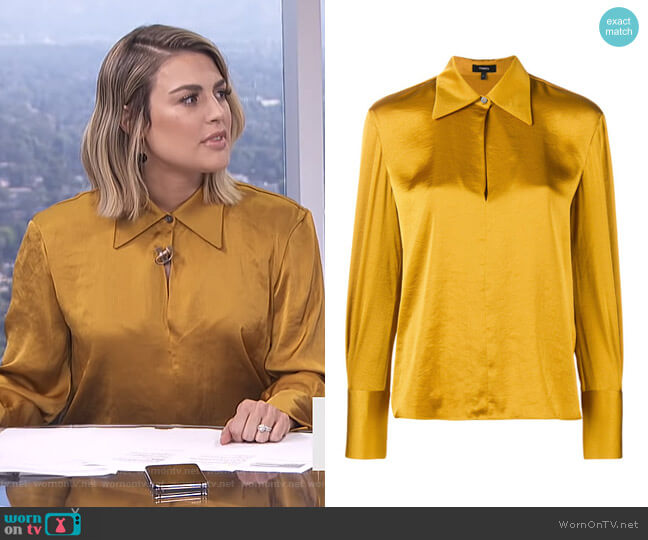 Spread Collar Blouse by Theory worn by Carissa Loethen Culiner  on E! News