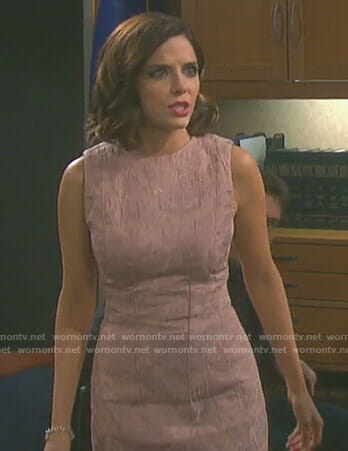 Theresa's pink jacquard sleeveless dress on Days of our Lives