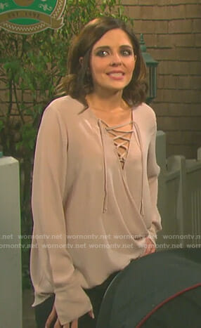 Theresa's pink lace up top on Days of our Lives