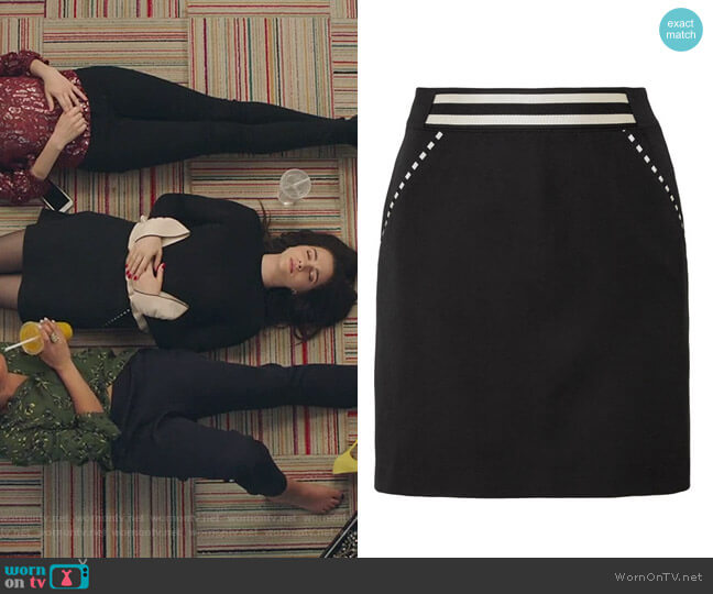Striped grain de poudre wool mini skirt by Tomas Maier worn by Katie Stevens on The Bold Type