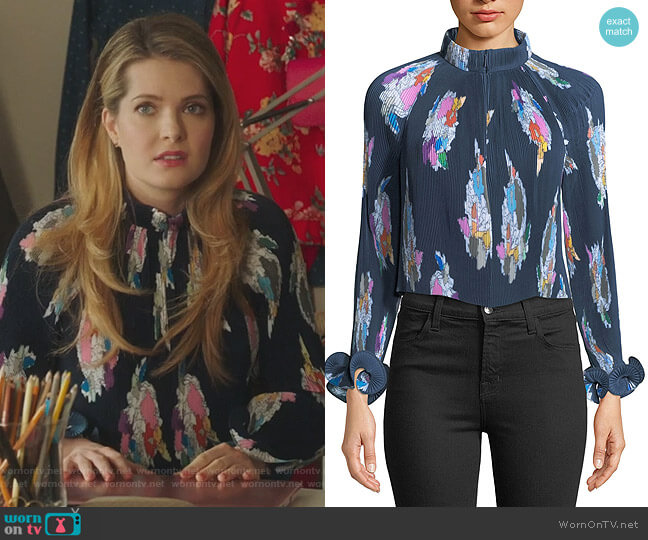 Graphic-Print Pleated Crop Top by Tibi worn by Sutton (Meghann Fahy) on The Bold Type