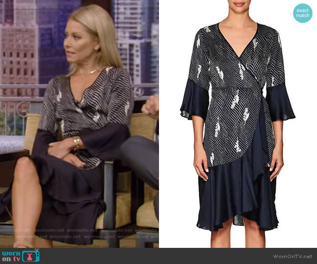 Dot-&-Floral Crepe Wrap Dress by Timo worn by Kelly Ripa (Kelly Ripa) on Live with Kelly & Ryan