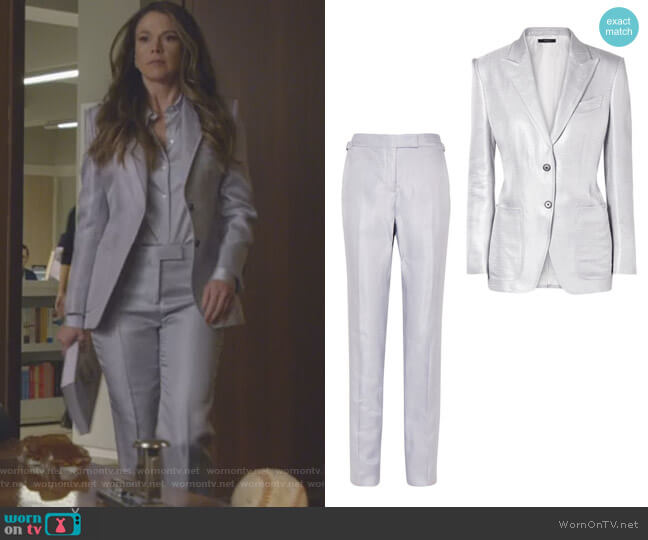 Metallic Woven Blazer and Pants by Tom Ford worn by Sutton Foster on Younger