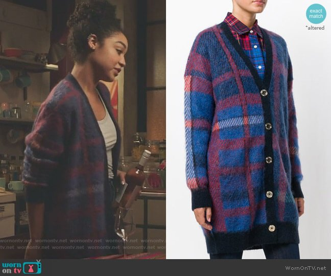 Tommy x Gigi Checked Cardigan by Tommy Hilfiger worn by Kat Edison (Aisha Dee) on The Bold Type