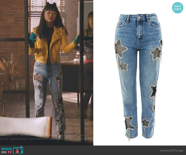 Bleach Diamante Star Jeans by Topshop worn by Alice Lee on Take Two