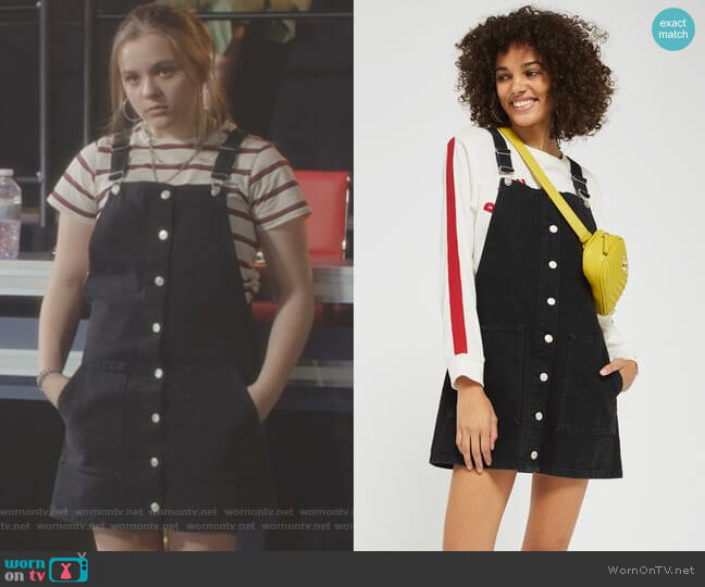 Button Through Pinafore Dress by Topshop worn by Daphne Conrad (Maisy Stella) on Nashville