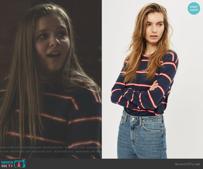 Colour Striped Long Sleeve Crew Neck T-Shirt by Topshop worn by Daphne Conrad (Maisy Stella) on Nashville