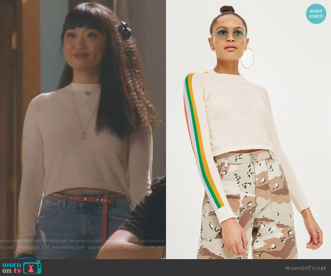Rainbow Sleeve Detail Knitted Top by Topshop worn by Monica (Alice Lee) on Take Two