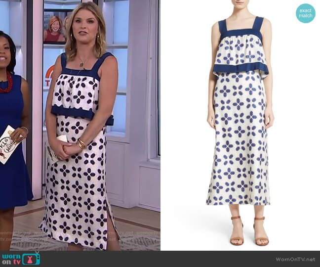 Avila Beetle Print Popover Bodice Dress by Tory Burch worn by Jenna Bush Hager  on Today