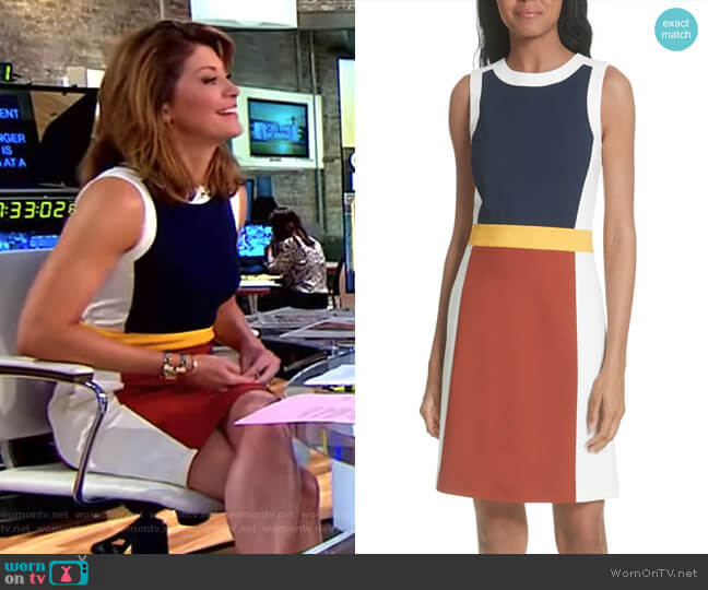Mya Colorblock Stretch A-Line Dress by Tory Burch worn by Norah O'Donnell on CBS This Morning