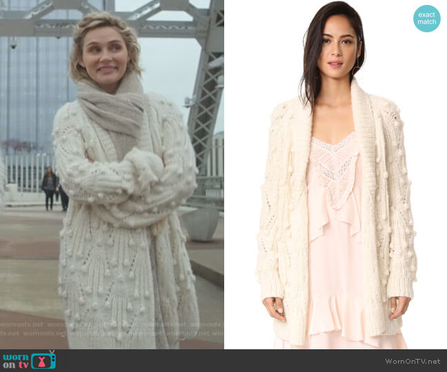 Gwendolyn Cardigan by Ulla Johnson worn by Scarlett O'Connor (Clare Bowen) on Nashville