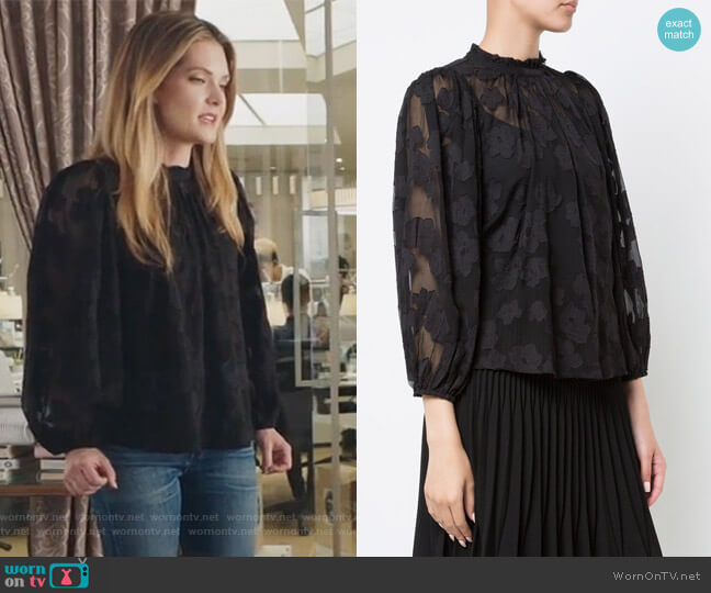 Sandrine floral blouse by Ulla Johnson worn by Sutton (Meghann Fahy) on The Bold Type