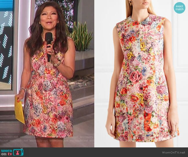 Floral-print wool and silk-blend crepe mini dress by Valentino worn by Julie Chen  on The Talk