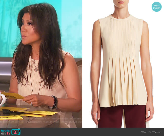 Pleated Shell Top by Valentino worn by Julie Chen (Julie Chen) on The Talk